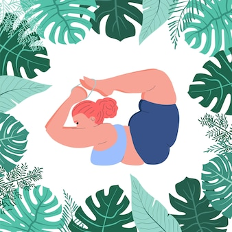 Dikke vrouw doet yoga selflove fitness en overgewicht dik meisje in yoga pose in monstera