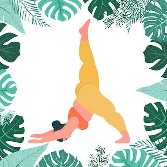 Dikke vrouw doet yoga zelfliefde fitness en overgewicht vettig meisje zit in yoga pose