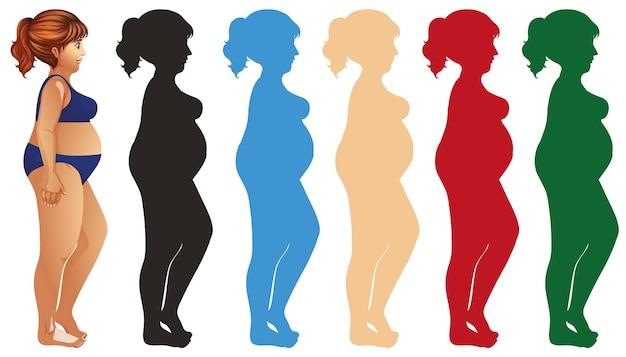 Dikke vrouw en silhouet in verschillende kleuren
