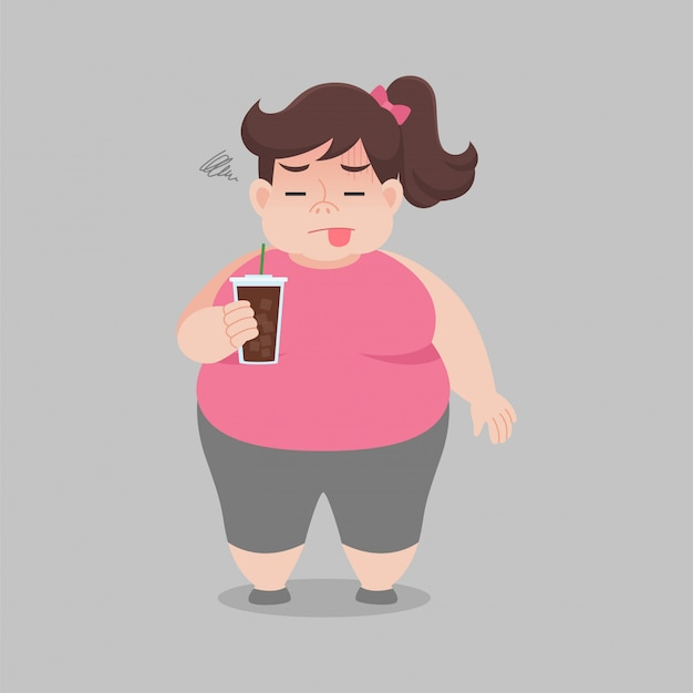 Dikke vrouw geniet niet van het drinken van zwarte koffie