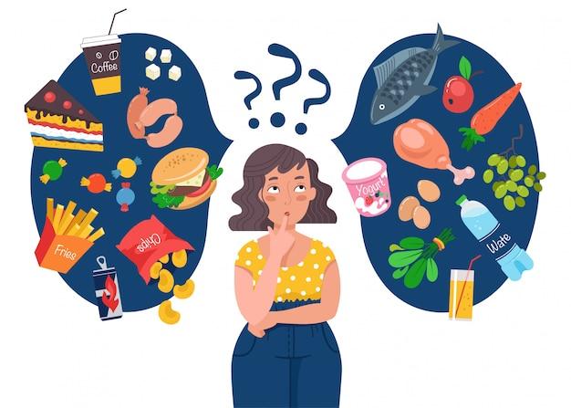 Dikke vrouw kiezen tussen gezond en ongezond voedsel. fast food versus gebalanceerde menuvergelijking.