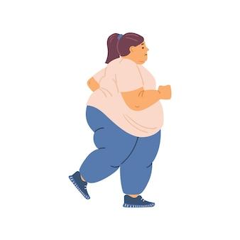 Dikke vrouw met overgewicht rennen of joggen platte vectorillustratie geïsoleerd