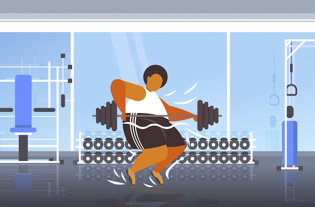 Dikke zwaarlijvige man tillen barbell overgewicht afro-amerikaanse man cardiotraining training gewichtsverlies concept moderne sportschool interieur