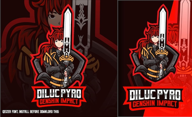 Diluc pyro sword genshin impact esport-logo