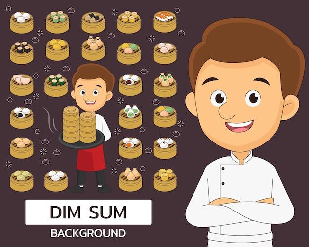 Dim sum concept achtergrond. platte pictogrammen.