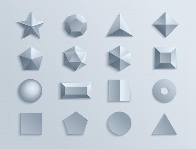 Dimensionale geometrische figuren in set