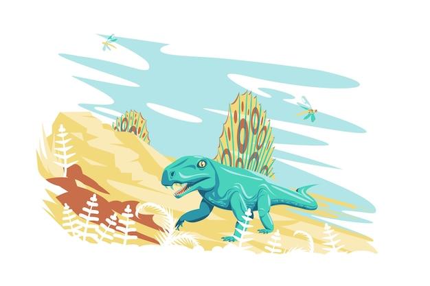 Dimetrodon dinosaurus in de natuur vector illustratie prehistorische uitgestorven reus reptiel dier vlakke stijl dieren in het wild en jura periode concept geïsoleerd