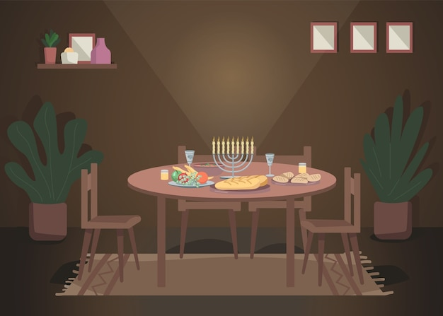 Diner voor chanoeka egale kleur illustratie