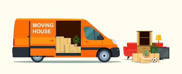 Dingen in doos in de kofferbak van de bestelwagen. verhuizen. vector illustratie