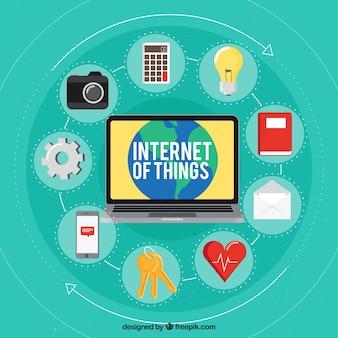 Dingen internet achtergrond met elementen