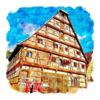 Dinkelsbuhl duitsland aquarel schets hand getekende illustratie
