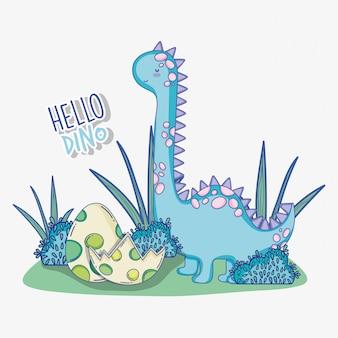Dino-brontosaurus met het wild van het dinoei