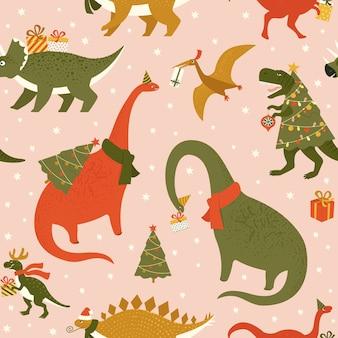 Dino christmas party tree rex patroon
