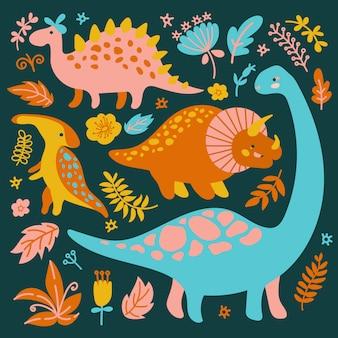 Dino collectie grunge prehistorische tekenfilm dieren vector illustratie instellen om af te drukken