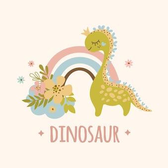 Dino en regenboog hand getekend plat ontwerp grunge stijl cartoon prehistorisch dier