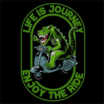 Dino met scooter voor t-shirt en kleding trendy design.