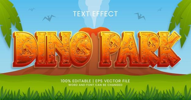 Dino park-tekst, bewerkbare stijlsjabloon voor teksteffect