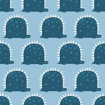Dino-patroon voor kinderdagverblijf in cartoon vlakke stijl
