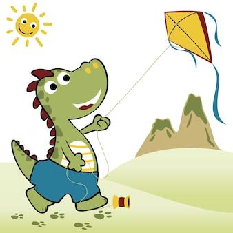 Dino playing kite, vector cartoon