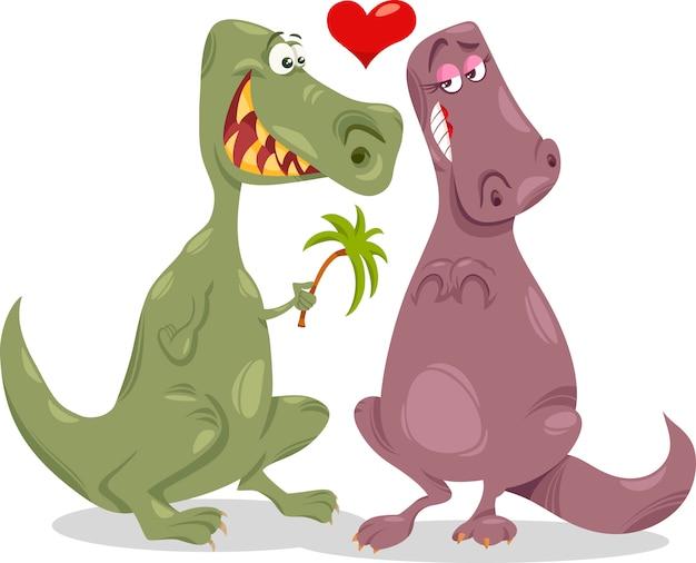 Dinos in liefde cartoon afbeelding