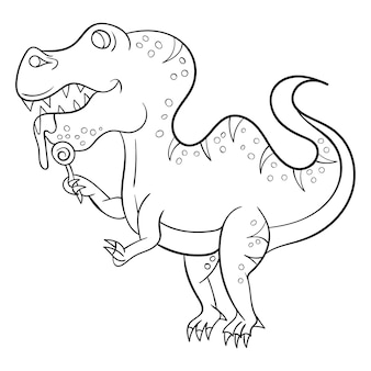 Dinosaur cartoon kleurplaat voor kinderen premium vector