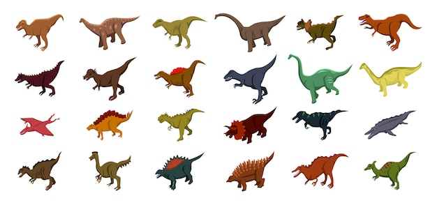 Dinosaur iconen set, isometrische stijl