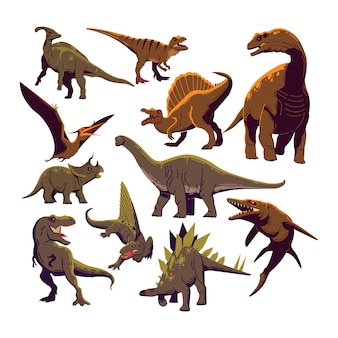 Dinosaur icons collection colored cartoon template vector