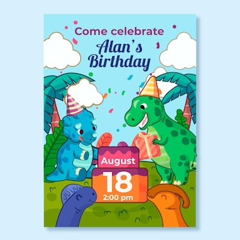 Dinosaur illustratie verjaardagsuitnodiging