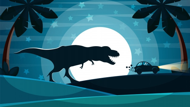 Dinosaur is achter de auto aan.