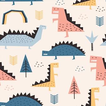 Dinosaur naadloos patroon met kinderachtige tekeningpastelkleuren