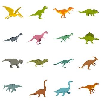 Dinosaur pictogrammen instellen in vlakke stijl