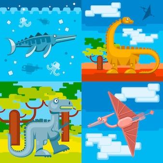 Dinosaur prehistorische concept achtergrond instellen platte ontwerpstijl. dierlijke wilde, jura dino, vectorillustratie