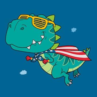 Dinosaur super held cartoon.