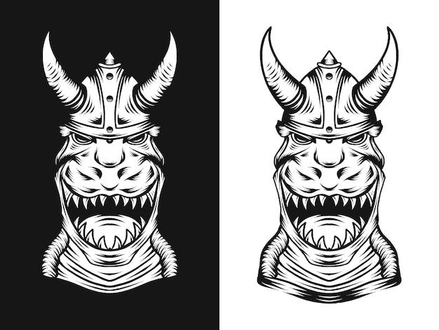 Dinosaur trex met viking hoed illustratie in de hand getekende stijl