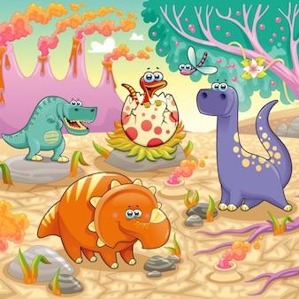 Dinosaurs achtergrond ontwerp