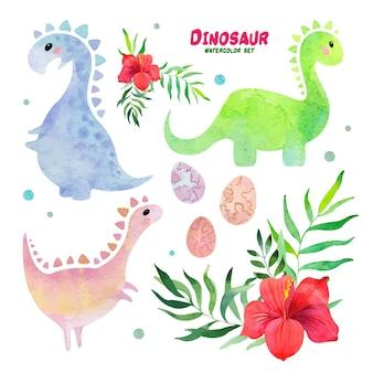 Dinosaurus aquarel set