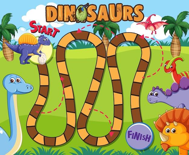 Dinosaurus bordspel sjabloon