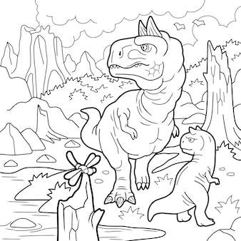Dinosaurus carnotaurus illustratie om in te kleuren
