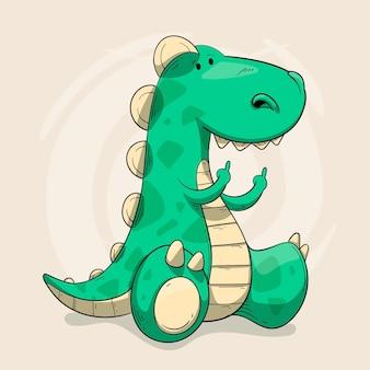 Dinosaurus die fuck you-symbool toont