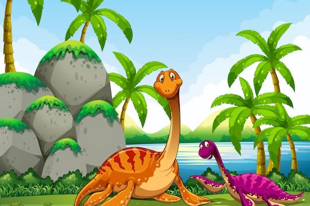 Dinosaurus die in de wildernis leeft