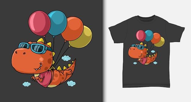 Dinosaurus die met ballon met t-shirtontwerp vliegt