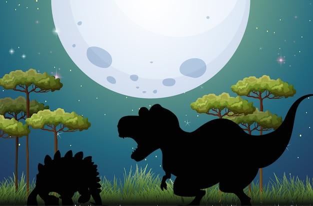 Dinosaurus in het silhouet van de natuurscène