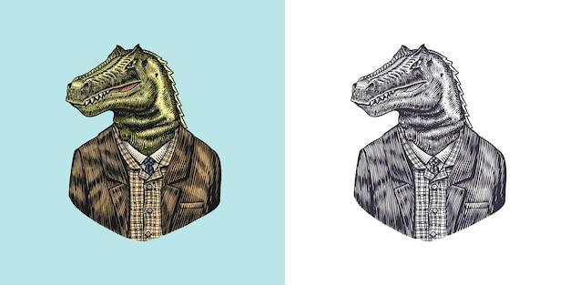 Dinosaurus karakter in jas allosaurus tyrex heer modieuze dieren vitorian heer in a