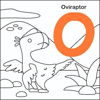 Dinosaurus kleuren met alfabet o