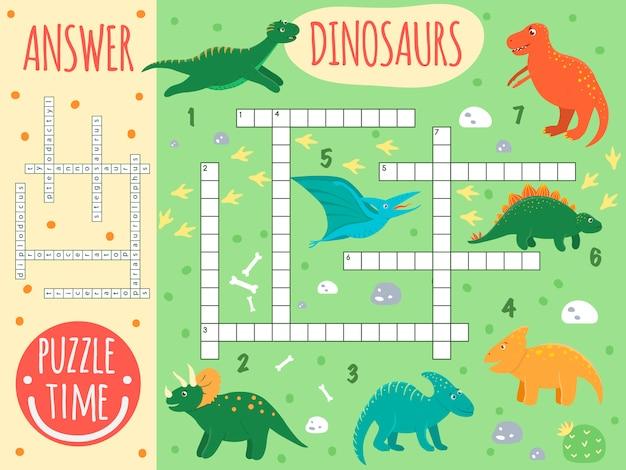 Dinosaurus kruiswoordraadsel. heldere en kleurrijke quiz voor kinderen. puzzelactiviteit met pterodactyl, stegosaurus, tyrannosaurus, parasaurolophus, triceratops, protoceratops, diplodocus, t-rex. Premium Vector