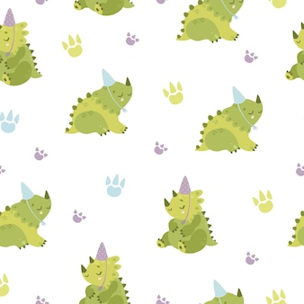 Dinosaurus met feestmuts naadloze patroon
