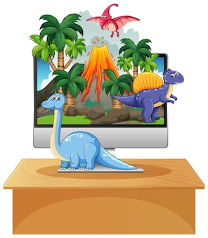 Dinosaurus op de achtergrond van het computerscherm