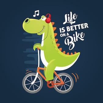 Dinosaurus op een fiets