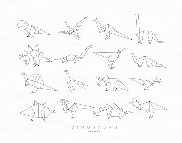 Dinosaurus-origami plat ingesteld
