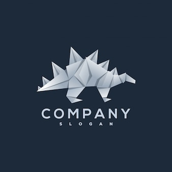 Dinosaurus origami stijl logo